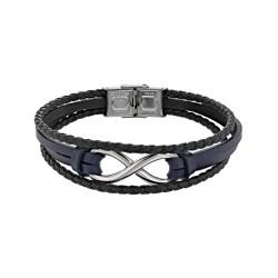 Bracelet acier CUIR DE...